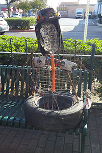 """Sally Junk"" on display outside of Merced Theatre during Art Hop."