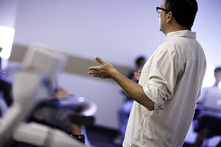 A faculty member leads a class at UC Merced.