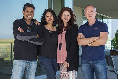 From left to right, professors Ajay Gopinathan, Sayantani Ghosh, Kara McCloskey and Victor Muñoz