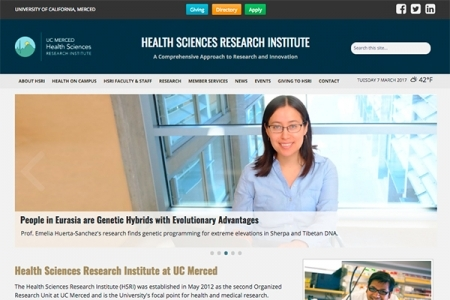 Image of a website that features UC Merced's new responsive website theme.