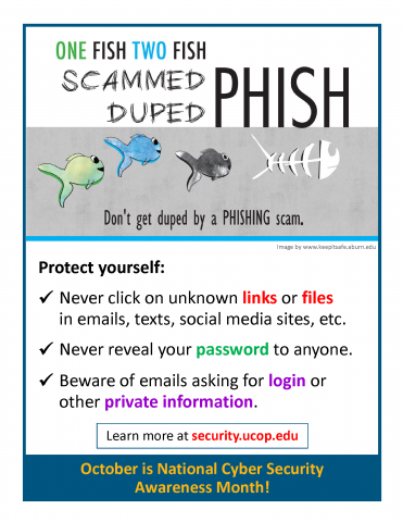 A flier designed for National Cyber Security Awareness Month displays tips on how to avoid phishing scams.