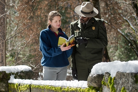 UC Merced Professor Katherine Steele Brokaw stands next to National Park Service Ranger Shelton Johnson.
