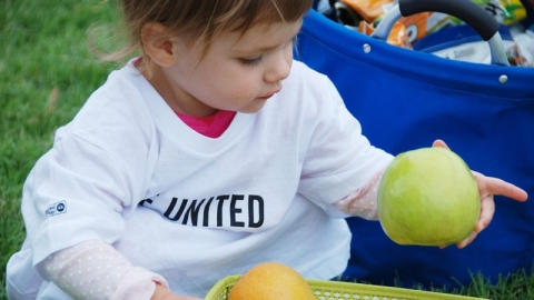 A toddler wearing a United Way shirt holds an apple.