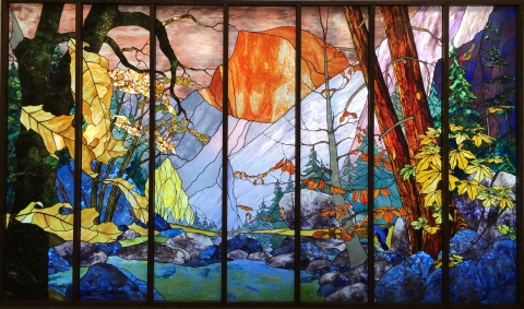 "William Poulson's mural ""Tissiack,"" in the UC Merced Library"