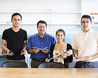 Sergio Pineda, far right, is pictured with others who manage instructional laboratories in the School of Engineering.