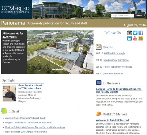 Image of the latest issue of Panorama, UC Merced's biweekly electronic newspaper for faculty and staff.