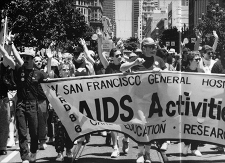 1991 Lesbian/Gay Freedom Day Parade (San Francisco General Hospital Ward 86 / Ward 5A 10th Anniversary (1983-1993) booklet, San Francisco General Hospital Ward 84/86 Records, MSS 94-61, UCSF Archives and Special Collections)