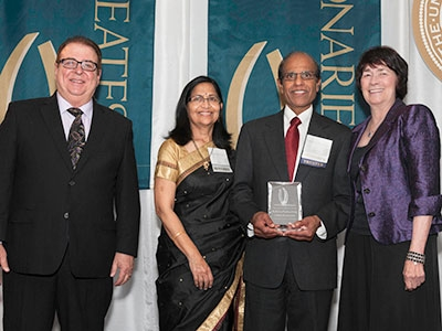 Foundation Board Chair Mike Gallo, Dr. Krishna and Sumana Thondapu and Chancellor Dorothy Leland