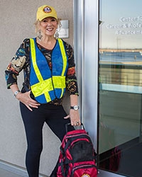 Phyllis Enea pictured in her safety gear as a building safety coordinator.