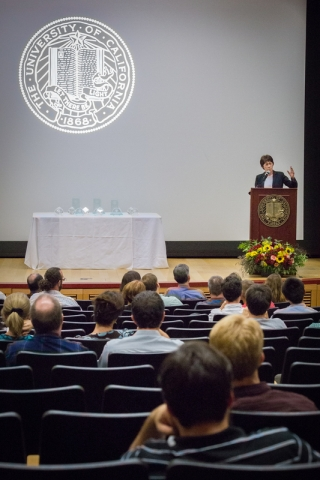 Chancellor Dorothy Leland addresses audience members during the annual convocation.