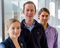 From left, researchers Jessamy Tiffen, Stuart J. Gallagher and Fabian V. Filipp
