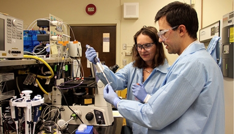 Professor Gabriella Loots, left, works with another researcher to recognize microscopic markers that indicate cancer is spreading.