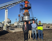 From left to right, professors YangQuan Chen and Gerardo Diaz, Phoenix Energy CEO and UC Merced Trustee Gregory Stangl and Phoenix Energy plant Manager Todd Machado are working on two biochar projects together.