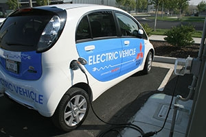 Electric vehicles are just one of the many ways people can help reduce the campus's carbon footprint.