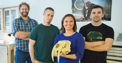 From left, Professor Justin Yeakel, graduate student Taran Rallings, Professor Jessica Blois and graduate student Nate Fox have teamed up on a project that digs deeper into remains at the La Brea Tar Pits.