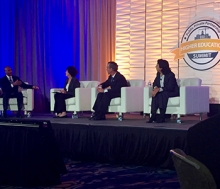 Chancellor Dorothy Leland (second from left) was the keynote speaker at the Public-Private Partnership Higher Education Summit in San Diego.