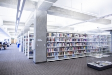 Interior shot of books stacks in the UC Merced Library.