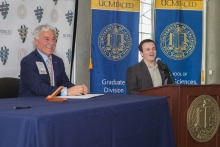 Vice Chancellor Kyle Hoffman, left, and an incoming UC Merced Student.