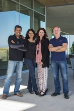 Professors Ajay Gopinathan, Sayantani Ghosh, Kara McCloskey and Victor Muñoz