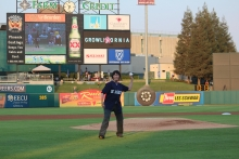 Chancellor Dorothy Leland threw the first pitch at Chukchansi Park Aug. 26 during UC Merced Night with the Fresno Grizzlies.