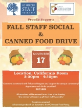 Flier for Staff Assembly's Fall Staff Social and Canned Food Drive