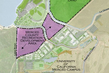 A map displays a planned recreation area north of the UC Merced campus and adjacent to Lake Yosemite.