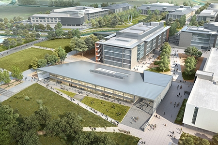 A rendering of the 2020 Project shows several new buildings with the existing campus in the background.