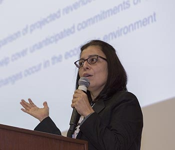 Assistant Vice Chancellor for Planning and Budget Veronica Mendez addresses the audience.