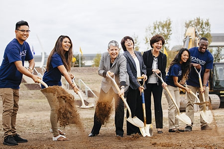 UC Merced students break ground on the Merced 2020 Project with UC President Janet Napolitano, Chancellor Dorothy Leland and Regent  Monica Lozano.