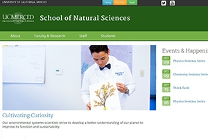 The School of Natural Sciences website now features multiple points of entry.
