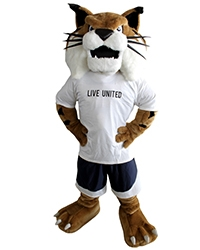 "UC Merced mascot Rufus Bobcat sports a ""Live United"" T-shirt from the United Way."