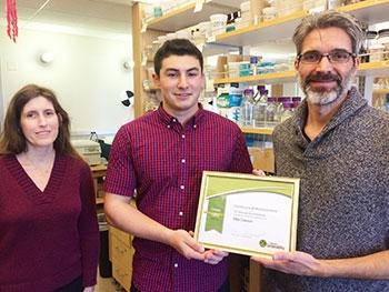 EH&S Specialist Karen Smith, Green Lab Assessment Program Coordinator Nick Conte and Professor Mike Dawson