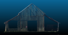 This image of the barn was captured using laser scanning technology.